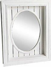 Wandspiegel SOUTHHAMPTON weiß shabby chic Holz mit ovaler Spiegelfläche