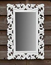 Wandspiegel Spiegel Barock - als Badspiegel Flurspiegel Schminkspiegel - Farbe Weiß - aus Holz - LandhausStil Vintage Shabby Chic Stil - Antiklook - 40x60cm