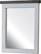Wandspiegel Spiegel Garderobenspiegel Loft, Massivholz Holz Akazie massiv, Landhausstil Weiß / Braun, Breite 60 cm, Tiefe 5 cm, Höhe 75 cm