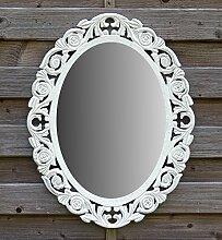 Wandspiegel Spiegel Oval Barock Gothic als Badspiegel Frisierspiegel Schminkspiegel - Farbe Weiß - aus Holz - LandhausStil Vintage Shabby Chic Stil - Antiklook - 46x58cm