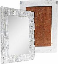 Wandspiegel Spiegel Rahmen Hängespiegel Holzrahmen Indonesien Massiv ca. 60 x 80 cm Mosaik Holz Weiß Shabby Chic