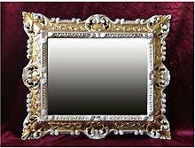 WANDSPIEGEL SPIEGEL RECHTECKIG Gold Weiß Dualcolor REPRO 45x38 ANTIK BAROCK ROKOKO REPLIKATE NOSTALGISCH RENAISSANCE BAROCKSTIL