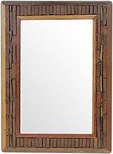 Wandspiegel Spiegel Standspiegel Holzspiegel Rahmen Holzrahmen Thailand Massiv ca. 50 x 70 cm Holz Hellbraun