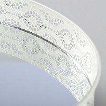 Wandspiegel Tablett Dekoration Runder Spiegel mit Kronenrand Tischspiegel (Mittel, Weiß)
