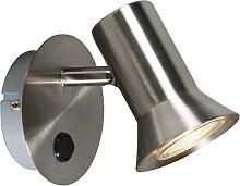 Wandspot Stahl schwenkbar und neigbar mit Schalter