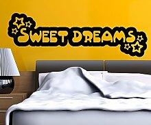 Wandspruch Sweet Dreams Süße Träume Aufkleber Kinderzimmer Wandtattoo 1D145, Farbe:Dunkelgrau glanz;Motiv Länge:120cm
