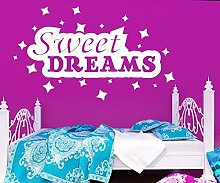 Wandspruch: Sweet Dreams Wandaufkleber Kinderzimmer Sterne Kind Wandtattoo 1D140, Farbe:Beige glanz;Motiv Länge:140cm