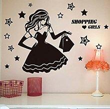 Wandsticker 54X80cm mädchen Shopping Schaufenster