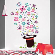 Wandsticker Bunte Magic Hat Blume Schmetterling