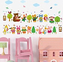 Wandsticker Cartoon Tiere Musik Wohnzimmer