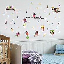 Wandsticker Eule Musiknote Cartoon Kindergarten