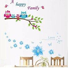 Wandsticker Für Baby Eule Und Blumen Glückliche