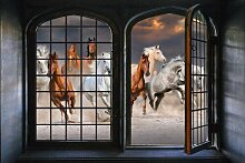 Wandsticker Iron Window and Horses Ebern Designs