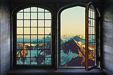 Wandsticker Iron Windows with Mountains Union