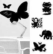 Wandsticker Maltafel Tiere als Frosch, Elefant, Affe und Schmetterling (Frosch)