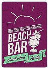 Wandsticker Sticker Kühlschrank für Küche Beach Bar Cool and Tasty Strand (71x50cm)