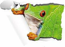 Wandsticker Sticker Wandaufkleber für Wohnzimmer Frosch grün Blatt Tapete (70x50cm)