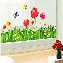 Wandsticker Tulpe Blume Kick Linie, Schlafzimmer