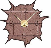 Wandsticker Uhr mit Uhrwerk Wanduhr Wohnzimmer Mauer Loch Wand Kaputt (Uhr Kupfer)