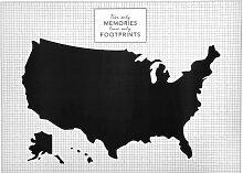 Wandsticker Vereinigte Staaten, schwarz und weiß