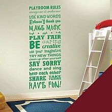 Wandsticker, Vinyl, für Kinderzimmer Play Room Rules ', burgunderfarben, Large (1500x550mm)