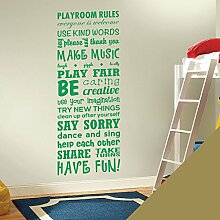 Wandsticker, Vinyl, für Kinderzimmer Play Room Rules ', gold, Large (1500x550mm)