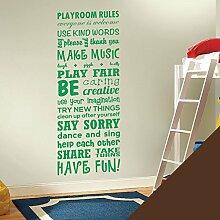 Wandsticker, Vinyl, für Kinderzimmer Play Room Rules ', schokoladenbraun, Large (1500x550mm)