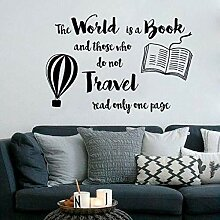 Wandsticker Welt Ist Buch Zitat Reise Design