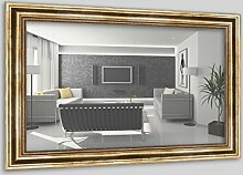 WandStyle H550-030 Wandspiegel Spiegel Barock Modern Antik Massivholz Gold (50 x 100 cm)