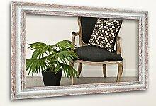 WandStyle H740-001 Wandspiegel Spiegel Shabby-Chic Landhaus Massivholz Creme Weiß (50 x 100 cm)