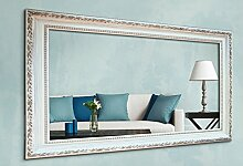 WandStyle WS-E002 Wand Spiegel 50 x 100 cm Barock Antik Weiß Massivholz