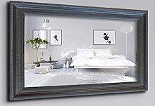 WandStyle WS-E008 Wand Spiegel 50 x 50 cm Barock Antik Schwarz Massivholz