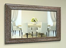 WandStyle WS-E024 Wand Spiegel 50 x 50 cm Barock Antik Weißgold Massivholz