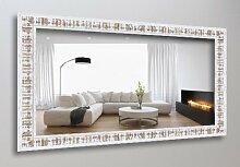 WandStyle WS-H630-023 Wand Spiegel 50 x 50 cm Landhaus Weiß Nussbaum Shabby Chic Massivholz Kiefer