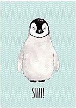 WANDTAFEL Holz Dekoschild PINGUIN SHH! Geschenk