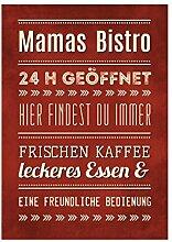 WANDTAFEL Holzschild MAMAS BISTRO Küche Familie Spruch Dekoration Shabby Vintage