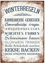WANDTAFEL Holzschild WINTERREGELN Dekoration