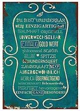 WANDTAFEL Schild DU BIST WUNDERBAR Vintage