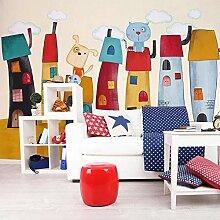 Wandtapete Handgemalte Farbe Haus Kinderzimmer