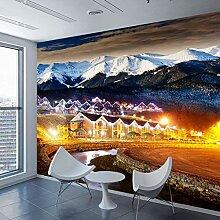 Wandtapete mit 3D-Motiv Schnee Berg Nacht Stadt