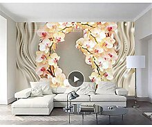 Wandtapete mit 3D-Orchideen-Motiv, modernes