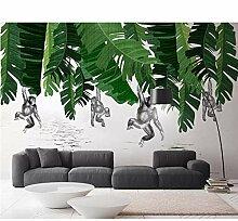 Wandtapete mit Bananenblatt und Affenpflanze, für