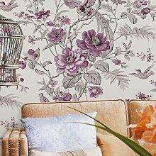 Wandtapete mit Blumen und Vögeln im Vintage-Stil,