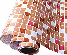 Wandtapete mit orangefarbenem Mosaik-Muster,