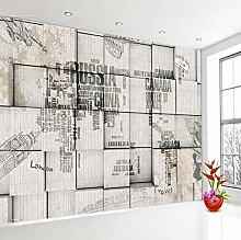 Wandtapete mit Retro-Weltkarte in