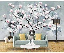 Wandtapete mit schönem Garten und Blumen, Baum,
