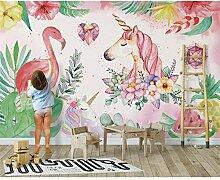 Wandtapete Nordische einfache Flamingo Einhorn