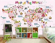 Wandtapete Tapete 3D Diy Cartoon-Weltkarte Für