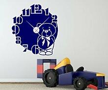 Wandtattoo 57x63cm Teddy Bär & Uhr Kinderzimmer Wanduhr Uhrwerk Aufkleber 1X025, Farbe:Beige glanz;Farbe der Uhr:Farbe der Uhr Silber