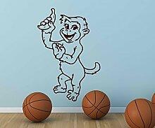 Wandtattoo Affe mit Banane monkey Baum sticker Tier Tür WC Aufkleber Wohnzimmer Schlafzimmer Kinderzimmer 1B280, Farbe:Weiß glanz;Hohe:55cm